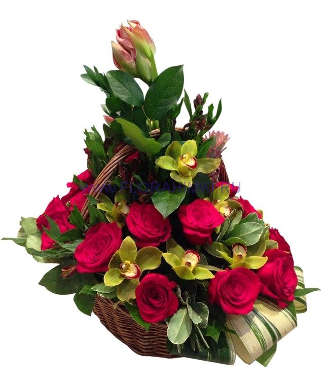 Корзина с розами живыми